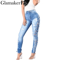 Glamaker Hole hollow out jeans Women blue denim jeans casual pants Sexy slim skinny pants high waist trousers streetwear bottom