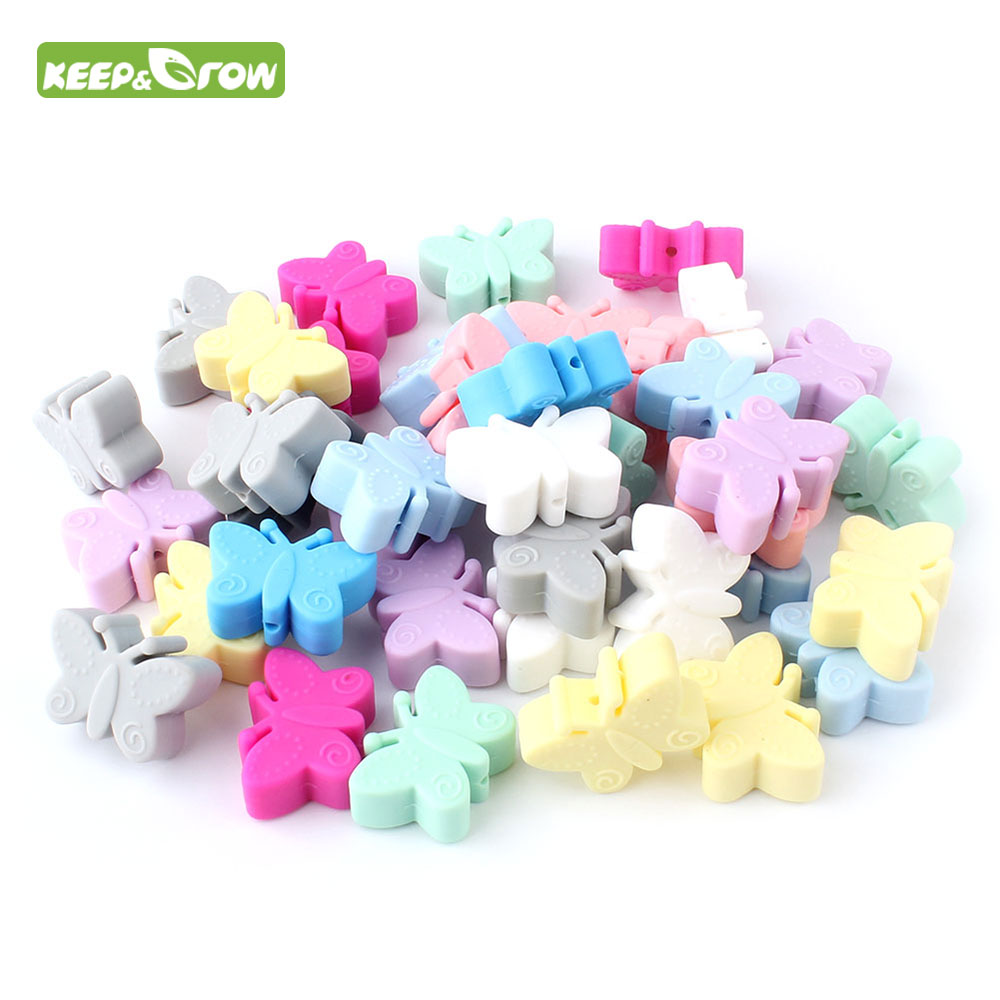 KEEP&GORW 10Pcs Butterfly Silicone Beads Food Grade Teether Baby Teething Beads BPA Free Baby Teething Necklace Toys  Accessory