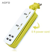 Travel Power Strip Surge Protector with 2 Outlets 4 USB Output 5V 4.2A Portable Charger