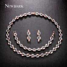 NEWBARK Rustic Wedding Jewelry Sets Wheat Design Rose Gold Plated And Silver Color Oval Necklaces Drop Earrings Bracelets