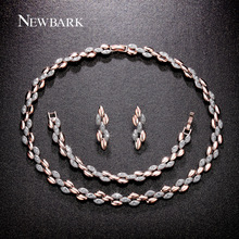 NEWBARK Brand Hot New Jewelry Sets Wheat Design Rose Gold Plated Necklacel Necklaces Pendants Drop Earrings