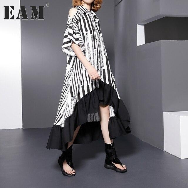 [EAM] 2018 new spring lapel off shoulder short sleeve black striped split joint  loose big size shirt women fashion tide AJ04701