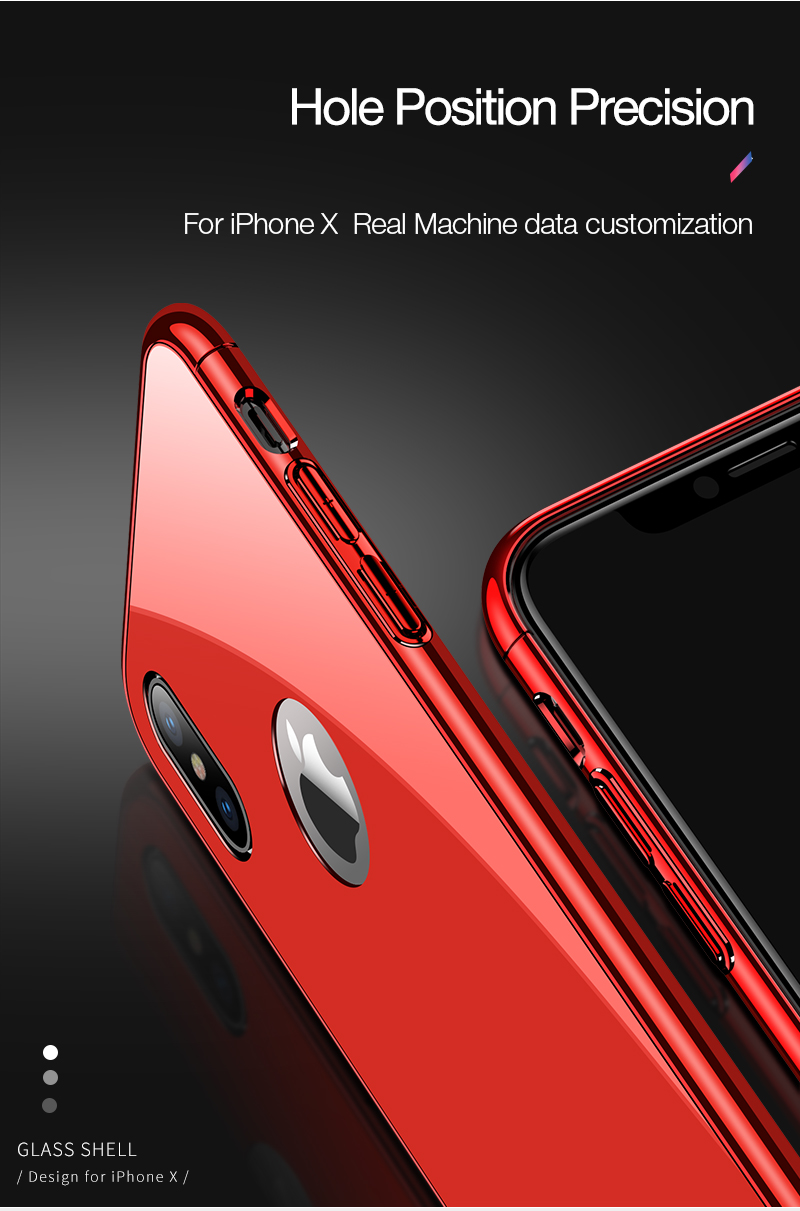 CAFELE Luxury Case For iPhone X 10 plating frame Tempered 3 in 1 Glass Ultra Thin color Glass Back Cover For iPhones X 10 Cases (7)