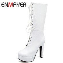 ENMAYER White Shoes Woman High Heels Platform Shoes Winter Boots Warm fur Russia Plus Size 34-47 Mid-calf Boots for Women цена в Москве и Питере