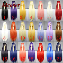 Mcoser 100Cm Long Staight Cosplay Wig Heat Resistant Synthetic Hair Anime Party wigs