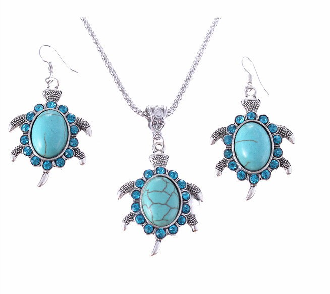 Brand Design Jewelry Sets Retro Pendant Necklace Turtle drop earrings Charm Gift women A173G