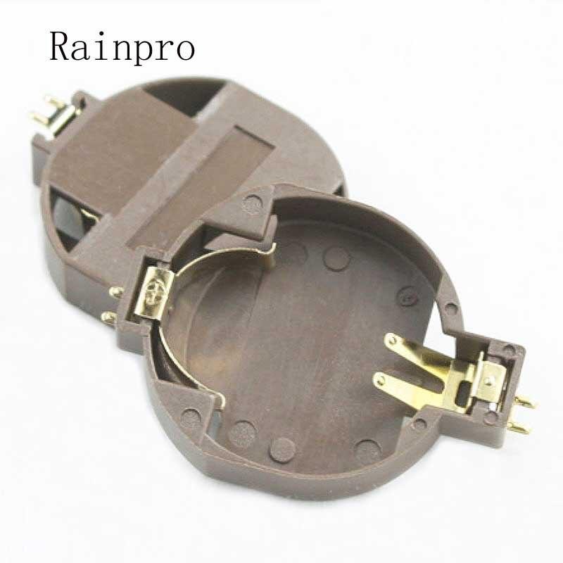Rainpro 5 pçs/lote BS-10 cr2032 3 v remendo horizontal favorável ao meio ambiente suporte de bateria de botão banhado a ouro