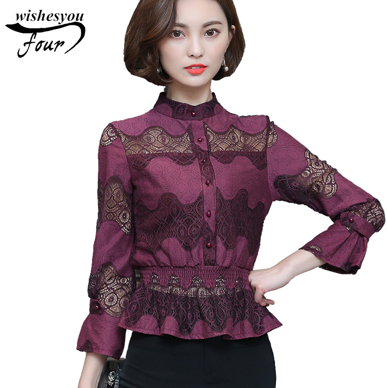 2017 New autumn long sleeves Casual lace office lady   shirt   blusas new elegant solid plus size women   Blouses     shirt   top 831A 30