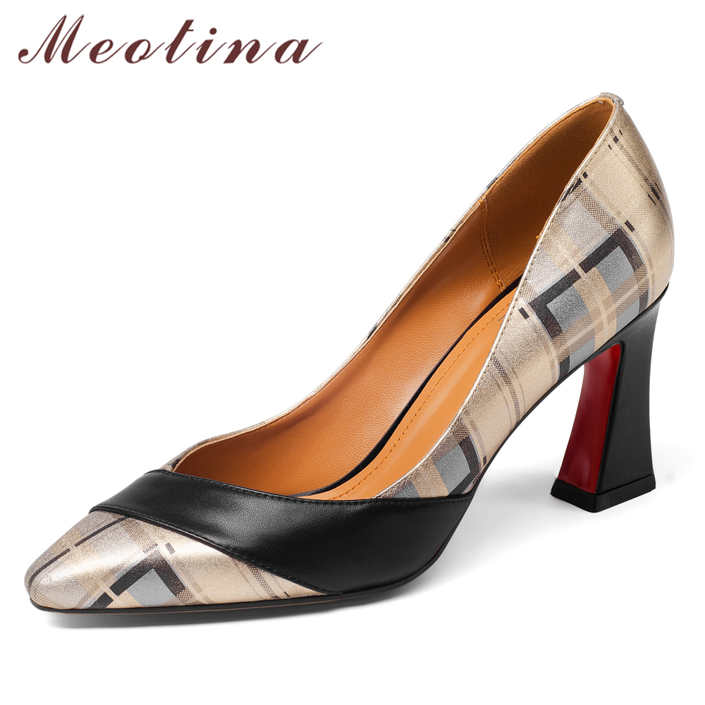 Meotina Women Pumps High Heels Natural Genuine Leather Thick Heel Shoes Real Leather Pointed Toe Shoes