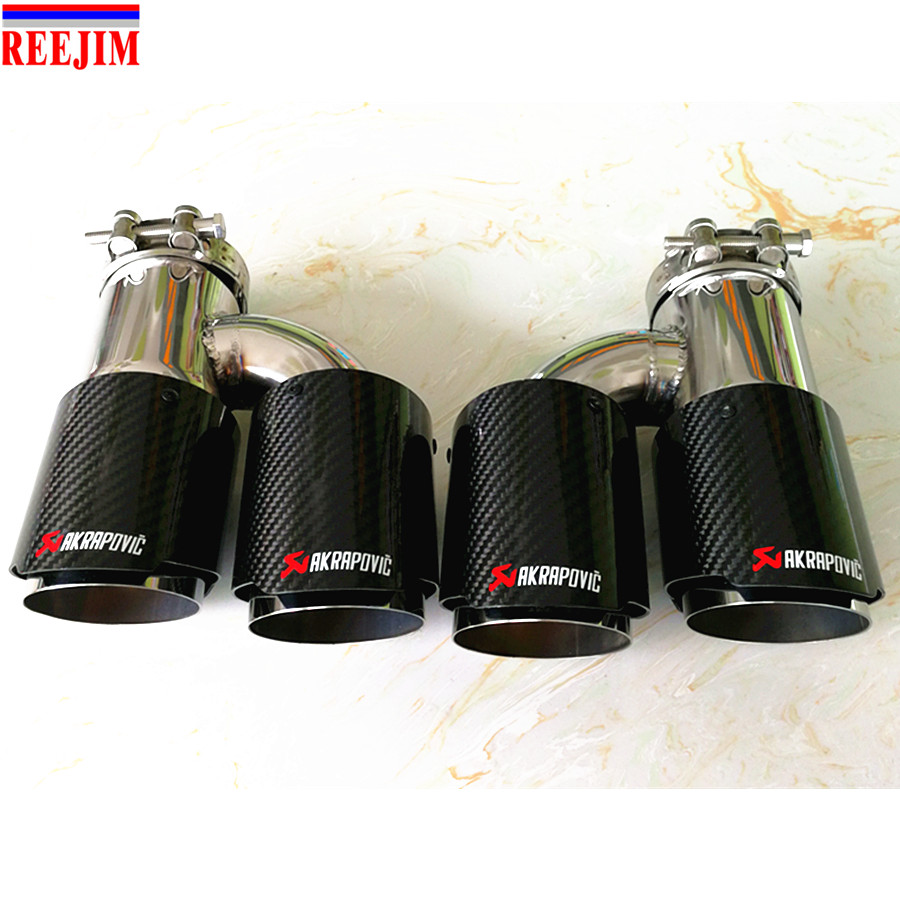 Dual Stainless Akrapovic exhaust tip Carbon Fiber tailpipe Inlet 3