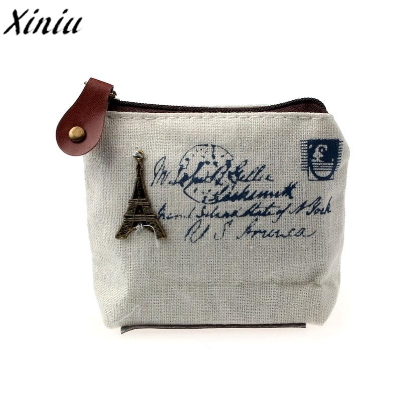 Purse Wallet Money-Bag Coin-Holder Car-Pouch Canvas Change-Coin Classic Little-Key Retro