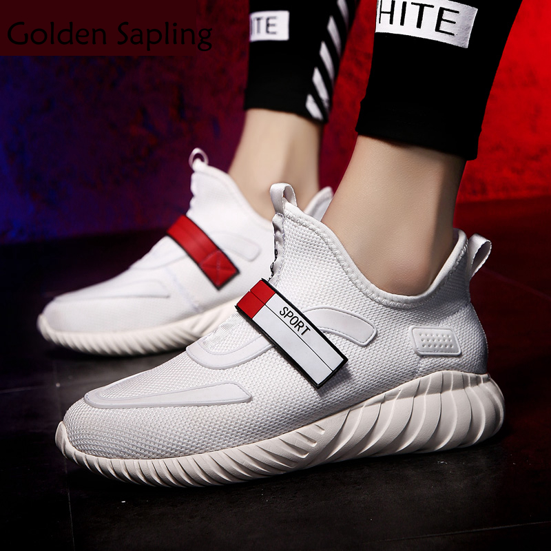 Golden Sapling Top Men's Sneakers Air Mesh Male Tennis Shoes Breathable Air Mesh Rubber Man Sneakers Solid White Men Sport Shoes 2017brand sport mesh men running shoes athletic sneakers air breath increased within zapatillas deportivas trainers couple shoes