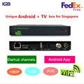 Envío libre Q7 singapur Starhub cable TV box soporte de canal De Fútbol + Androide KODI Netflix Youtube + wifi incorporado