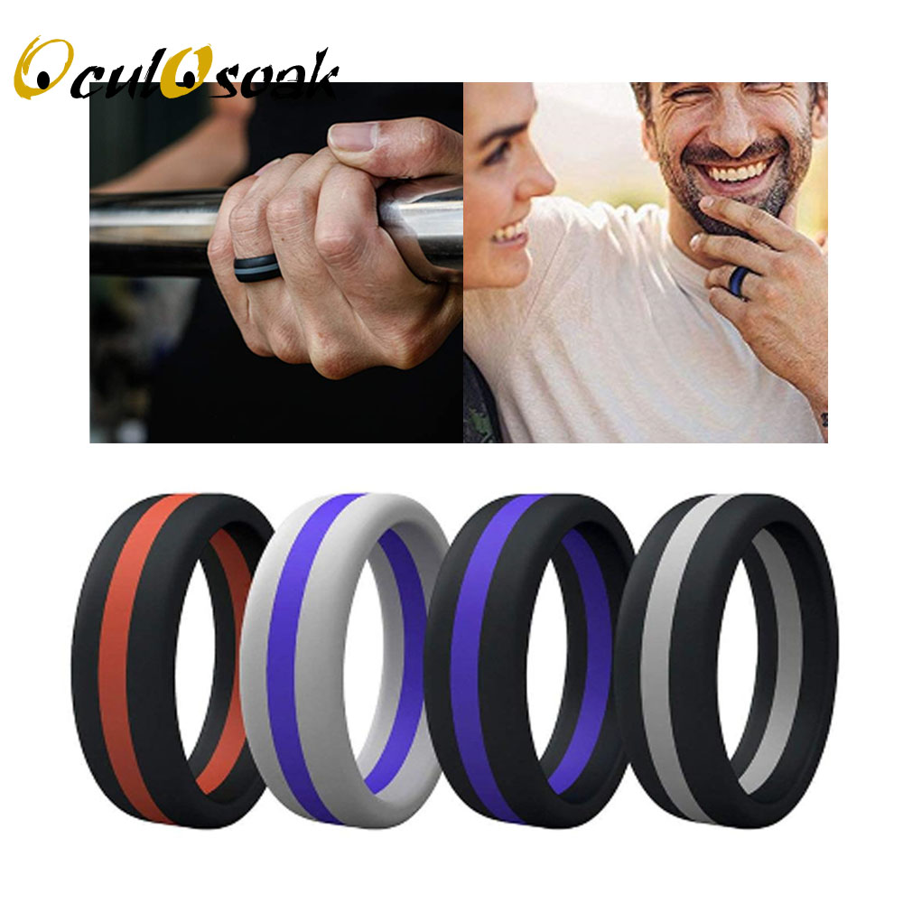 2019 Hot Colorful Three Layered Silicone Ring Hypoallergenic Crossfit Flexible Rubber Finger Ring For Men Women Wedding Rings