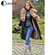 CKMORLS New Women Real Fur Parkas Winter Woolen Coats With Natural Fox Collar Long Black Jacket Slim Fashion Coat Casual