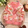 Y-8, urso dos desenhos animados, bebê Crianças meninas outwear, macia e quente de lã camisola jaqueta.