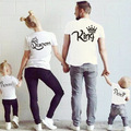2017 Summer matching family O-neck King Queen prince Princess Crown Letter Print Cotton Couples Casual Shirt Valentine Matching