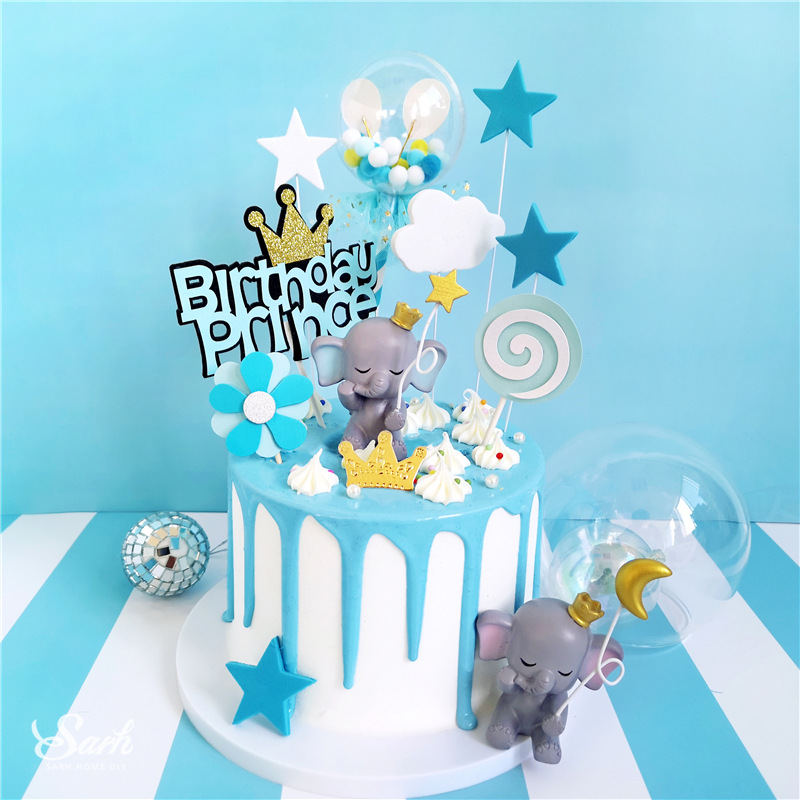 Bling Gold Silver Star Elephant Decorations Hairball Cake Toppers for Children's Day Anniversary Party Supplies Sweet Gifts-in Cake Decorating Supplies from Home & Garden
