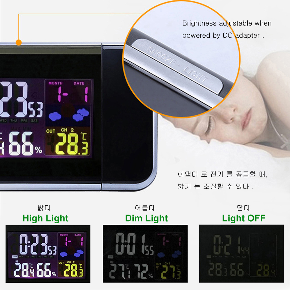 Image 4 - Digital Projection Alarm Clock Weather Station with Temperature Thermometer Humidity Hygrometer/Bedside Wake Up Projector Clock-in Alarm Clocks from Home & Garden