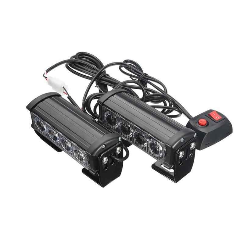 2020 New Hot Penjualan 4 LED Grille Bar Mobil Truk Strobo Flash Peringatan Darurat Lampu 12V 2Pcs