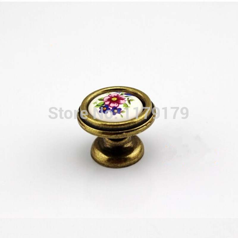 32mm ceramic kitchen cabinet knobs Bronze cupboard pulls antique brass drawer dresser  furniture handles knobs pulls TC608