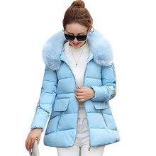 Женщины Зимние Куртки И Пальто 2016 Капюшоном Вниз Хлопка Проложенный Парки Меховым Воротником Толстые Теплые Ватные Куртки Манто Femme AA154