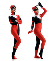 Harley Quinn Costumes Black And Red Fitted Harlequin Cosplay Zentai Jumpsuit Women Halloween Clown Joker Costume