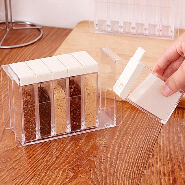 6 Teile/satz Transparent Gewürzglas Weiß Deckel Gewürz Box Salz ...