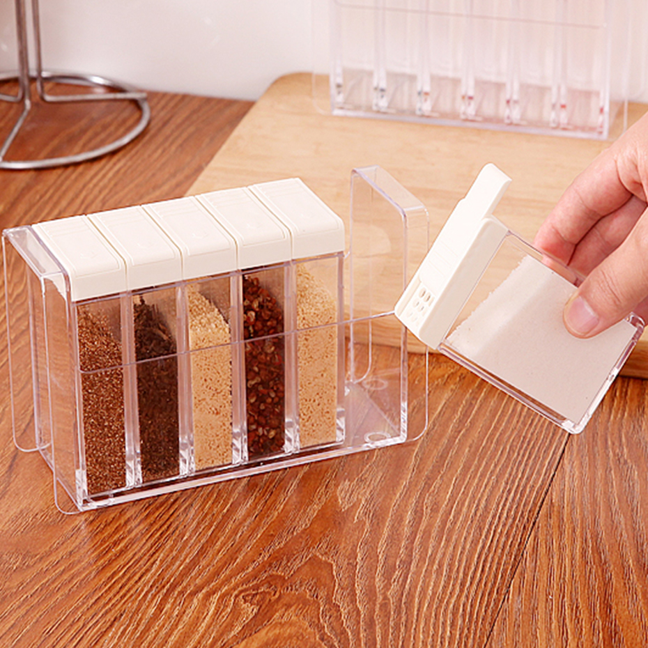 6Pcs/Set Transparent Spice Jar White Lid Seasoning Box Salt Condiment Storage Box Spice Storage Container Kitchen Accessories