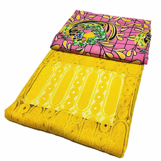 New Milk Silky Cord Lace Match African Ankara Fabric Wax Print Fabric 3yards+2.5yards Lace