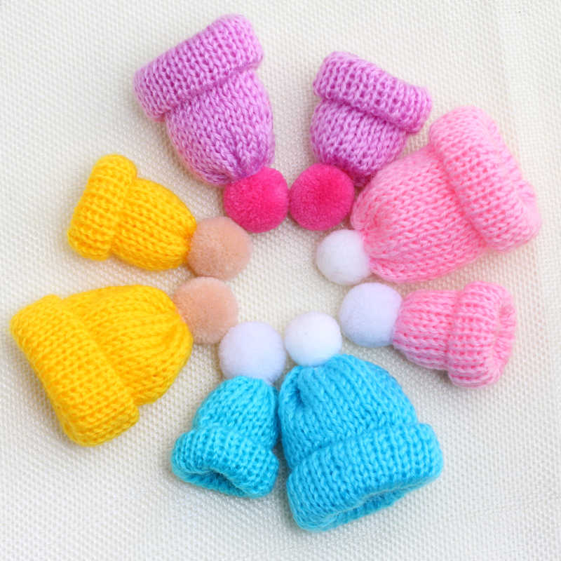 2 Pcs/set Kawaii Hairball Busana Rajutan Topi Topi Sweater Bros Wanita Aksesoris Bros Pin Mini Lucu Hadiah Kerah Lencana Pin