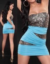 Factory Price Short Women Summer Style Dress Lady Clubwear Dress Plum Zigzag Bandeau Sequin Colorful Bust Dress W3134