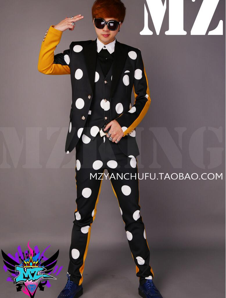 S-5XL 2019 Nouvelle Hommes de mode Mince GD 2 PM DJ Noir blanc jaune mosaïque Costume manteau chanteur costumes Hommes performance Costume Veste