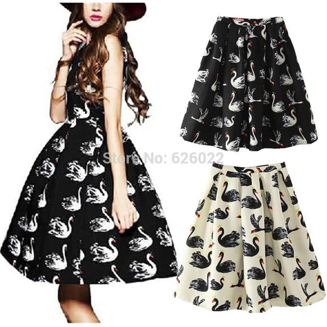 2014 New Women's Vintage Hepburn Style Swan Print Pleated Midi Skirt Retro High Waist Swing Ball Gown A-Line Skirt 3 Colors 67cm