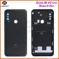 Xiao mi a2 lite tampa traseira da bateria porta traseira habitação caso vermelho mi 6 pro bateria reparação peças de reposição + botão volume energia|Estojos de celular| |  -