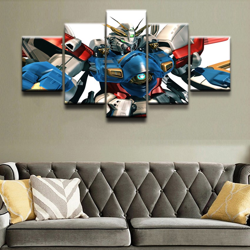 Gundam Anime Painting Canvas Wall Art Modern HD Print Home Decor For Living Room Artwork 5 Piece