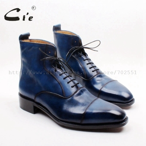 Image 1 - cie Square Captoe Lace Up Handmade Hand Painted Navy 100% Genuine Calf Leather Hidden Suture Goodear Welted Men Leather BootA156