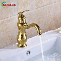 Deck Mounted Bathroom Short Vanity Sink Faucet Single Lever Brass Gold Bathroom Basin Taps with Hot and Cold Water