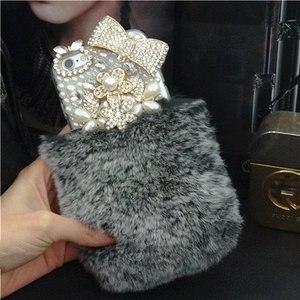 Image 3 - Шикарный чехол с кристаллами и пушистым кроличьим мехом, зимний мягкий чехол с кристаллами, блестящий Меховой чехол для samsung S7, S8, S9, S10, S20 Plus, Note 20, 10, 8, 9