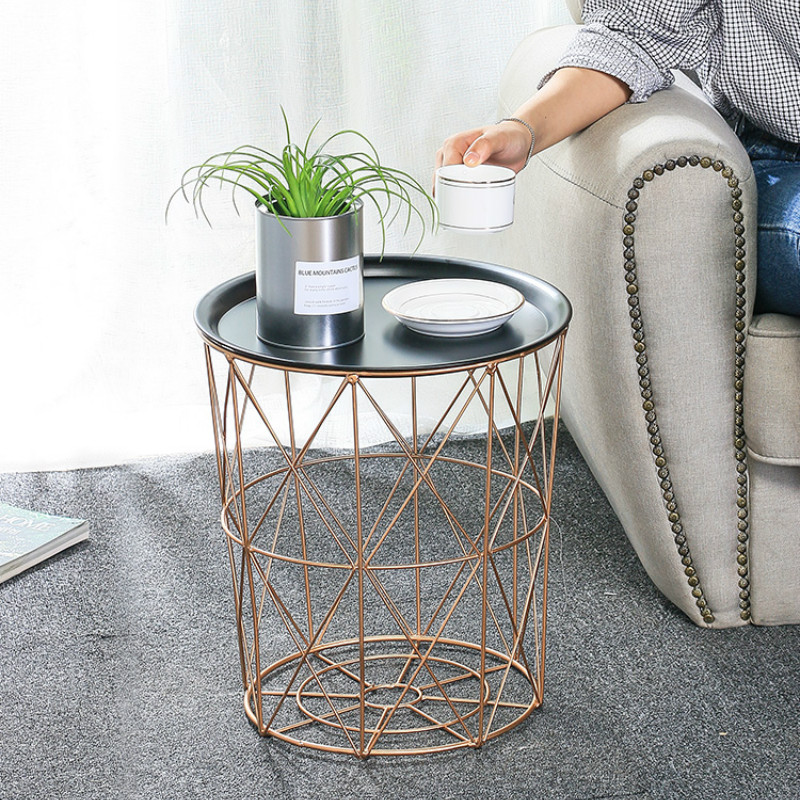 Nordic wrought iron coffee table home living room sofa small table with tray crafts ornaments storag