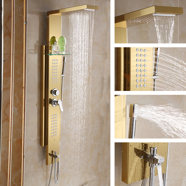 Wall Mounted Stainless Steel Shower Panel Tower System,4 Function Rainfall Waterfall  Shower Set