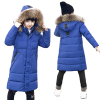 30 Degree High Quality Boy's Clothing Children Winter Down Jacket For Boys Parka Real Natural Fur Hooded Long Coat Kids Clothes