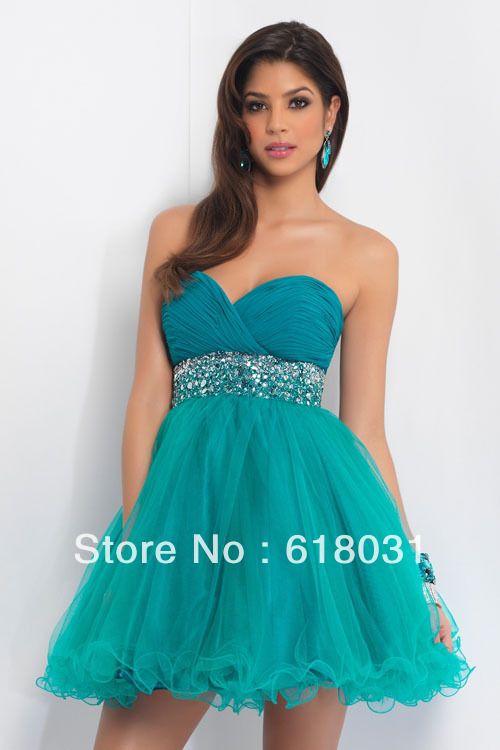 2014 new bridesmaid sweetheart neck beaded dama dress for ...