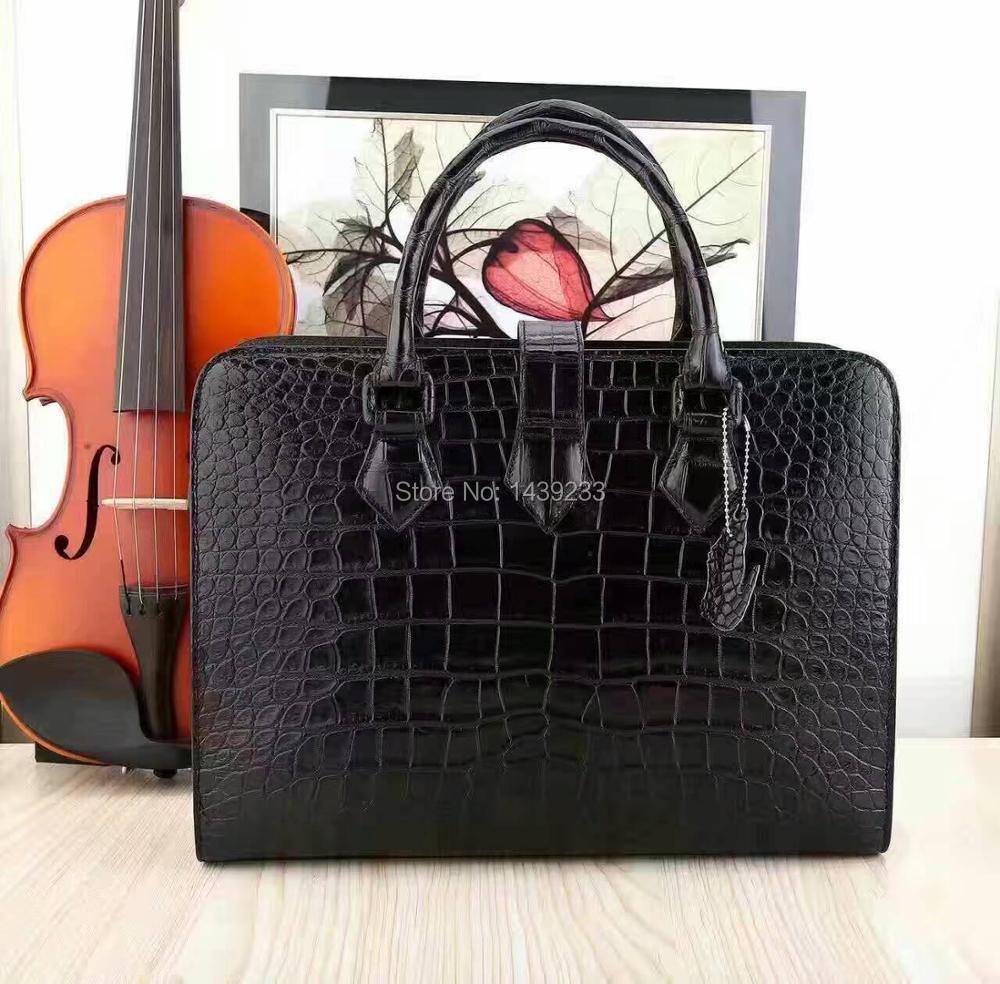 100% Genuine/Real Crocodile belly Skin Men Briefcase Laptop Bag, Top Luxury Men Business bag Black luxury quality men bag croco
