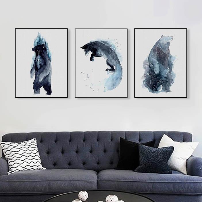 Us 346 45 Offakwarela Dzikie Zwierzęta Tygrys Niedźwiedź Fox Płótnie Duże Drukuj Plakat Na ścianę Obraz Nowoczesny Salon Home Decor Obrazy