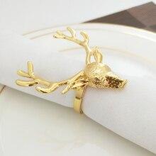 10PCS Metal Deer Head Napkin Christmas Ring Supplies