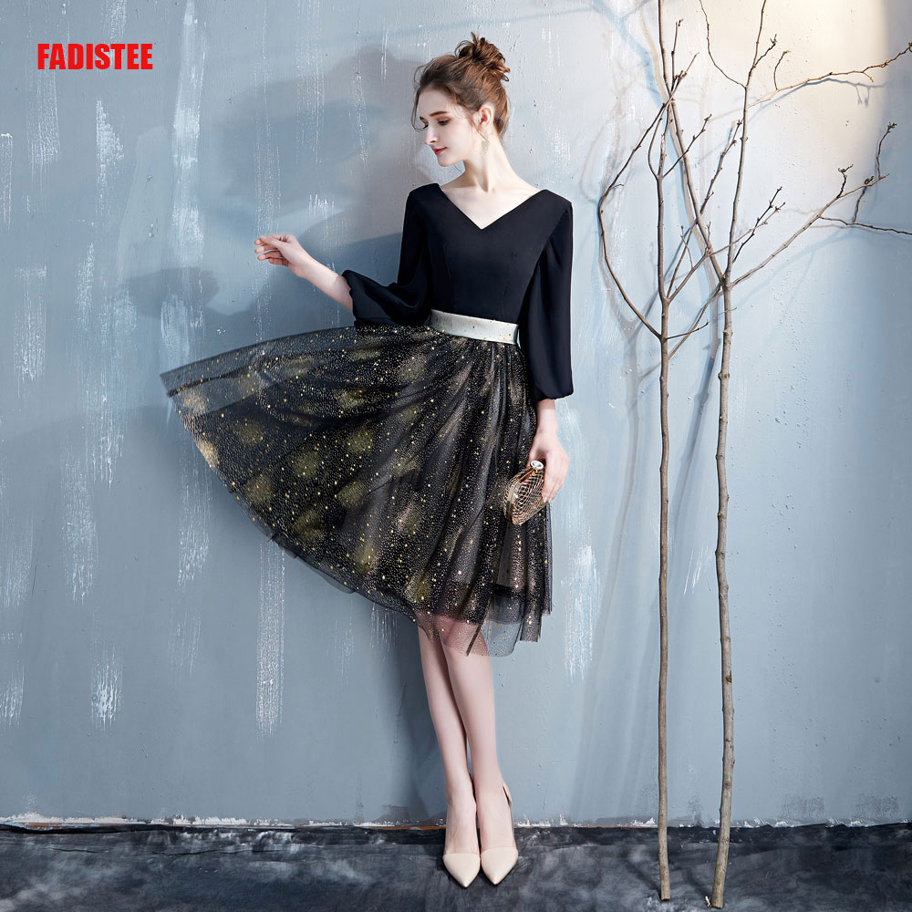 FADISTEE New arrival evening   prom   party   dresses   Vestido de Festa gown little black chiffon   dresses   gold star puffy sleeves