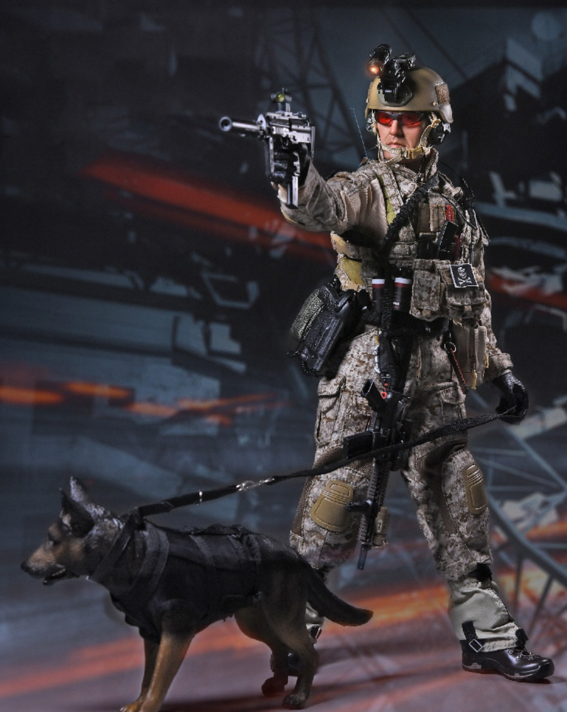1/6 U.S.Navy Seals Six Team Commandos Set with Dog and two Guns Figures Gift Collection creature commandos