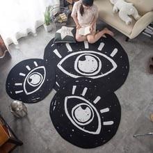 Round shaped big eyes pattern carpet 100 100cm living room carpet black color cartoon ground mat