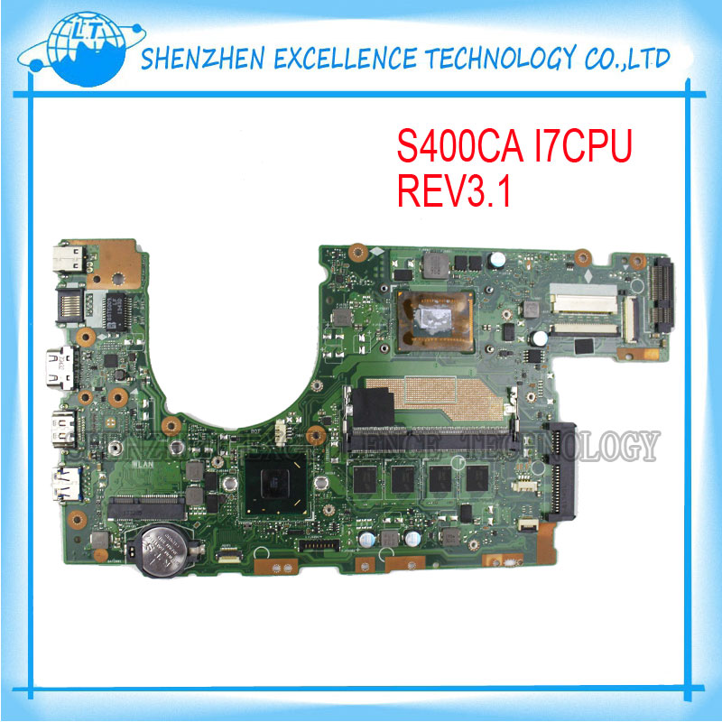 Original Laptop Motherboard For ASUS S400CA S500CA S400C S500C Mainboard REV2.1 I7 4GB USB 3.0 DDR3 Tested OK original new laptop motherboard for asus k52jc rev 2 1 ddr3 n11m ge2 s b1 mainboard